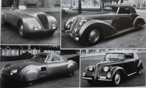 von links oben im Uhrzeigersin: Aprilia Spider Touring, Aprilia Ghia Cabrio, Aprilia Cabrio von Touring und ein aerodynamisches Coupé von Pinin Farina